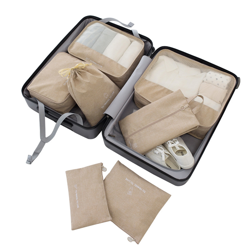 Luggage Organizer Packing 7PCS/Set Travel Accessories Kit Mesh Storage Organizer Packing Cube Clothing Underwear Shoe Sort Bags