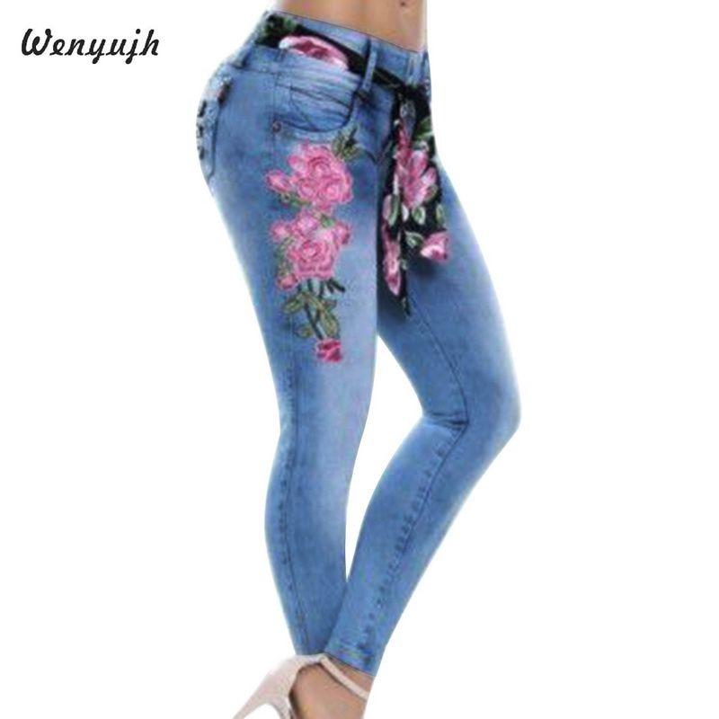 WENYUJH 5XL 2019 mujeres estiramiento de cintura alta ajustado bordado pantalones de mezclilla de impresión Floral pantalones de lápiz Mujer Pantalones talla grande