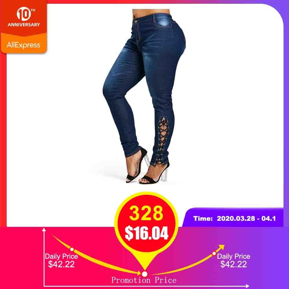 Rosegal Plus Size Zipper Fly Side Lace Up Jeans Skinny High Waist Pockets Denim Pant Women Jeans Pencil Pants Trousers Big Size