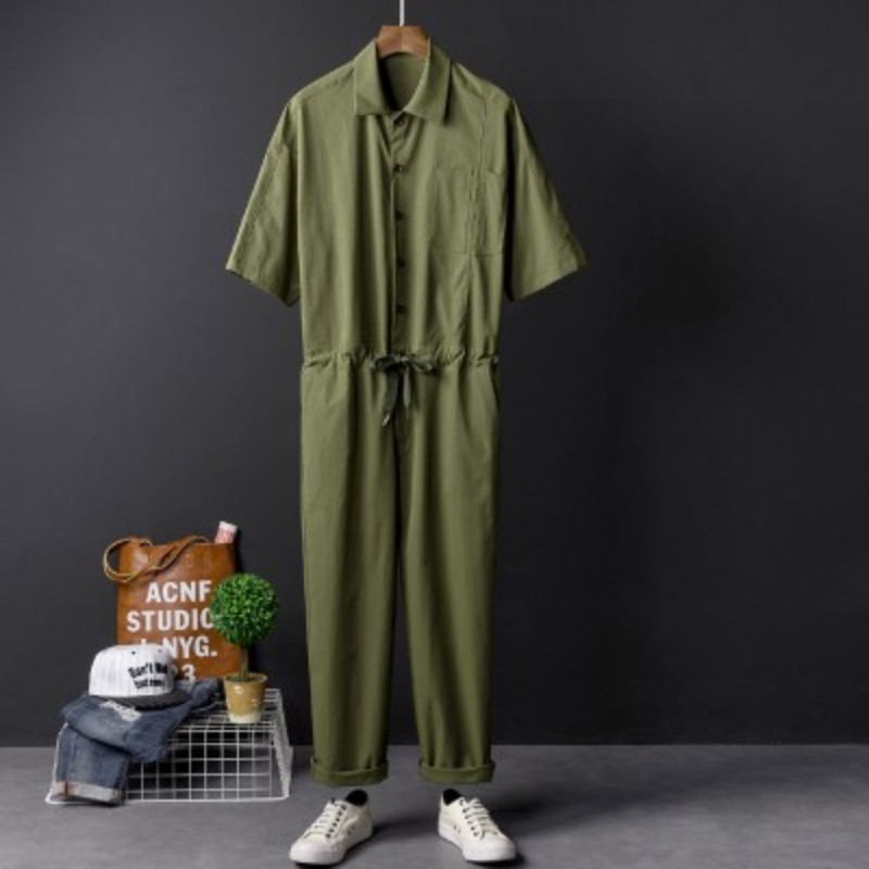 Harajuku Summer Hip Hop Short Sleeve Single Breasted Mens Jumpsuits Drawstring Waist Pockets Casual Loose Male Cargo Overalls