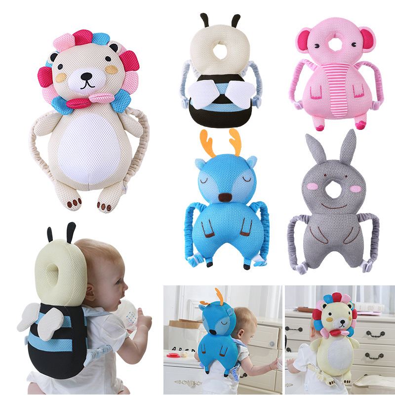 Baby Pillow Newborn Baby Head Protector Pad Cartoon Bees Deer Plush Toy Breathable Toddlers Headrest Cushion for Walking Sit