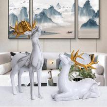 1 Pair Elk Lucky Decoration Nordic Modern Luxury Living Room Wine Cabinet Decor Wedding Gift Bedroom Accessories Home Interior