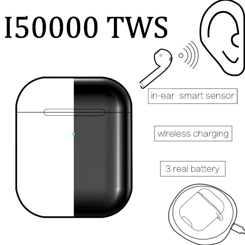 Original I50000 Tws Matte Black Super Copy 1:1 Air 2 1536U Chip H1 W1 Bluetooth Earphones Support Ios13 Pk I200 I1000 I9000 TWS