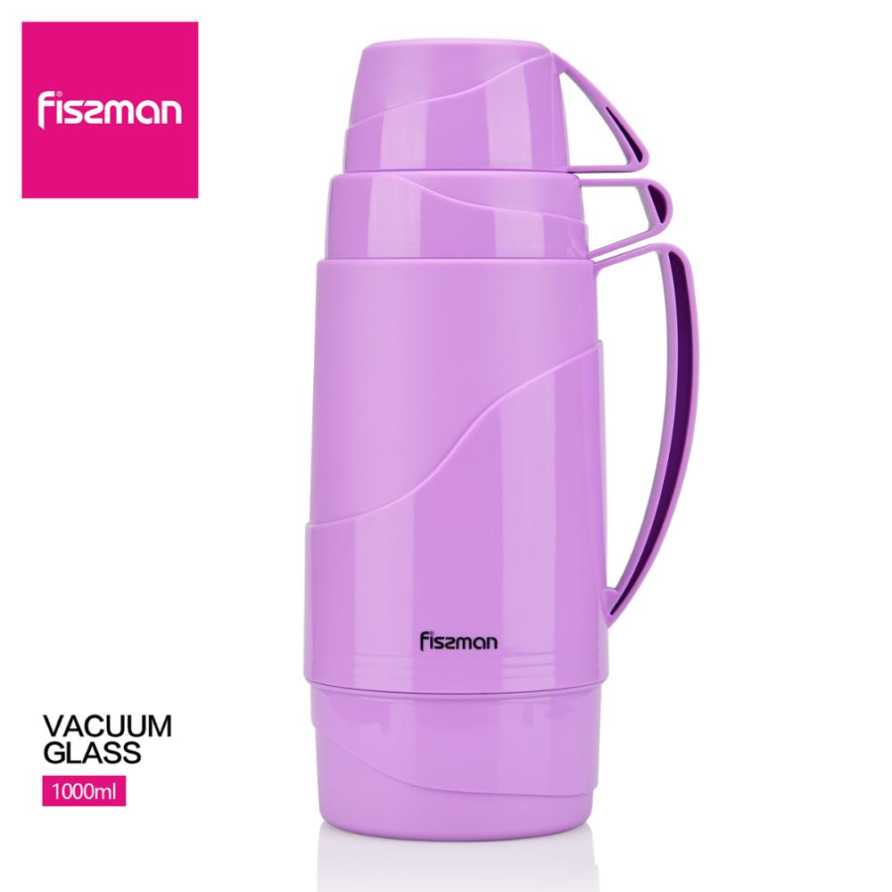 Fissman 1000ml Vacuum Glass Liner Bottle With Double Layer Two Cups Design Fashion Violet Insulated Pot