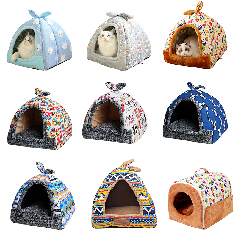 Petshy Yurt Tent Pet Cat Bed House Washable Small Dog Kitten Nest Cave Bed Cats Sleeping Cushion Pad Sofa Multifunction Cat Home