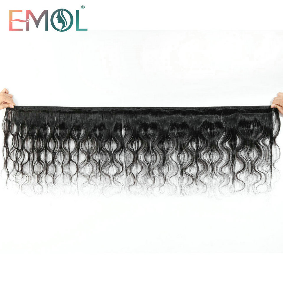 Emol Peruvian Body Wave Hair Bundles Natural Color Human Hair Weave Bundles 8-28Inch Non-Remy Hair 1/3/4 pcs