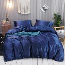 3 Pcs 100% pure satin silk bedding set Home Textile King size bed bedclothes duvet cover flat sheet pillowcases Wholesale