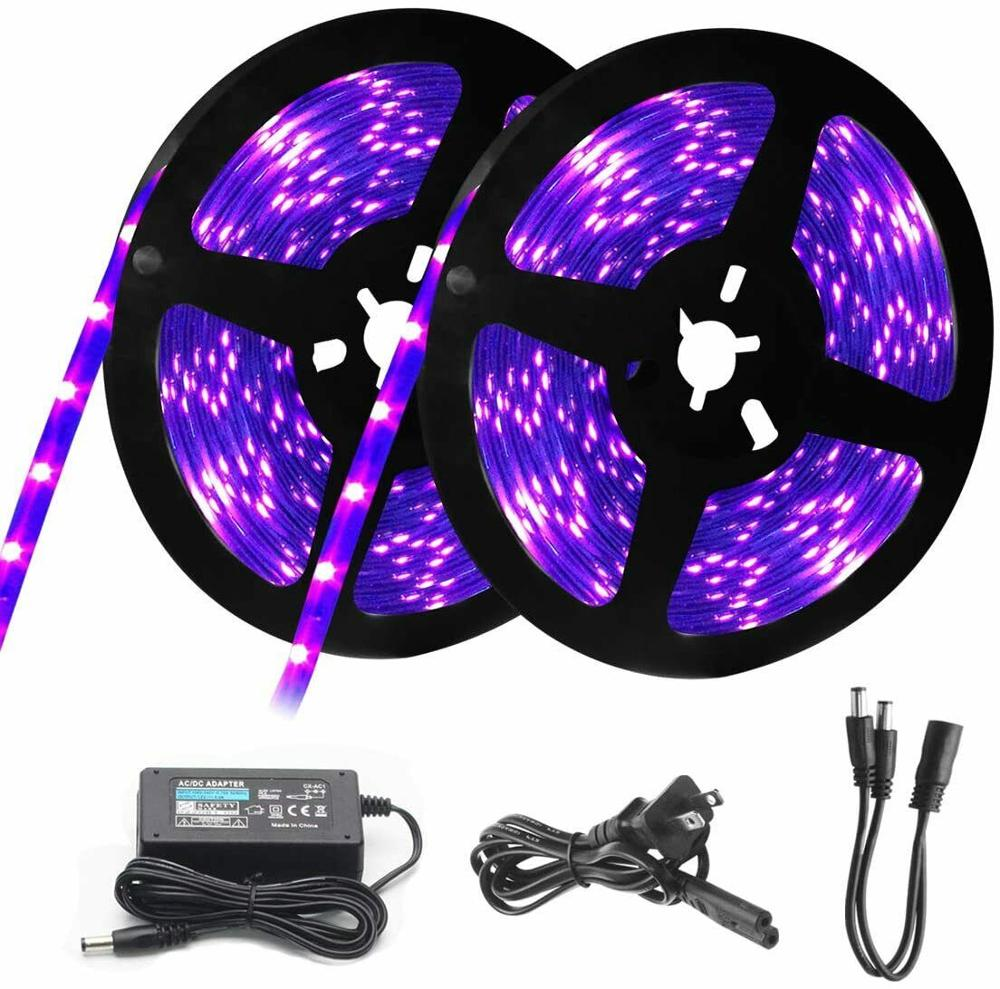1m 5m ultravioleta uv led strip light 3528/5050 smd invisível 395-400nm blacklight lâmpada de detecção violeta + fonte alimentação kit completo