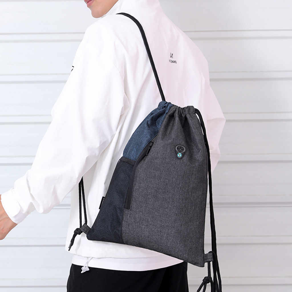 Sac à dos femmes école sac à dos à la mode unisexe étanche solide Bundle corde Sport sac à dos sacs d'école livraison directe