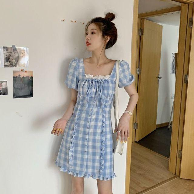Фото qweek женское платье в клетку во французском стиле милый клетчатый цена