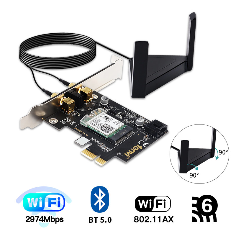Desktop PCIe Dual Band 3000Mbps Wi-Fi 6 Bluetooth 5.0 Wifi Adapter For Intel <font><b>AX200</b></font> Wireless Card 802.11ac/ax MU-MIMO OFDMA image
