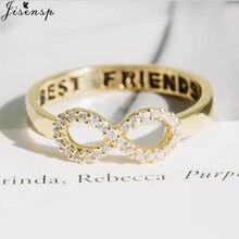 Clássico infinito amor anéis para mulheres meninas elegante cristal número 8 carta melhor amigo dedo anel moda jóias bff presente