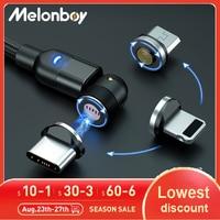 Melonboy 540 ruota cavo magnetico caricabatterie magnetico a ricarica rapida cavo Micro USB tipo C cavo per cellulare cavo per iPhone Xiaomi