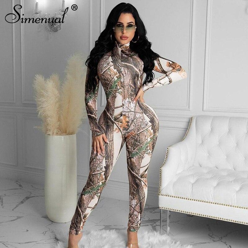 Simenual baskı Casual Bodycon Rompers bayan tulum uzun kollu moda aktif giyim sıska tulum desen doğum günü kıyafetler