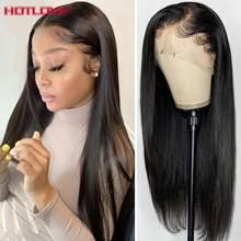 Perruque Lace Frontal wig naturelle brésilienne Remy, cheveux lisses, 13x4, avec Baby Hair, densité 150%, pour femmes africaines