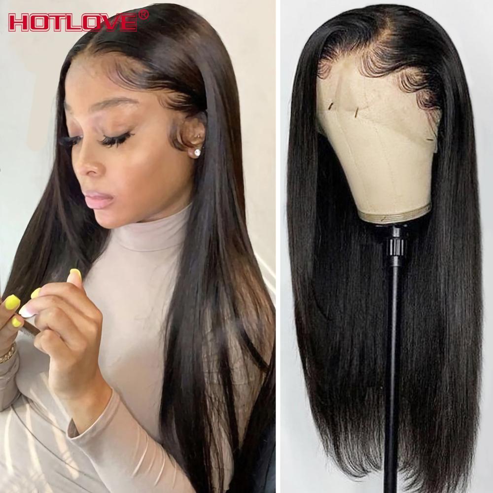 Pelucas de cabello humano con encaje Frontal 13x4 para mujeres negras, cabello liso brasileño de 150% densidad, pelucas con minimechones, cabello Remy
