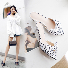 Купить с кэшбэком Fashion Women Sandals Women 6.5cm High Heels Sandals White/Black Summer Female Shoes Casual Lady Shoes Woman Footwear