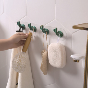 Image 5 - Cactus Hook Nordic Style Creative Seamless Hook Wall Decoration Wall Hanging Free Punch Bathroom Hook