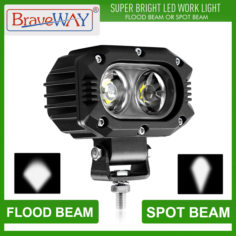 BraveWay Work Light LED Headlights Extra Light For ATV Car Motorcycle Truck Assisted Lamp Auxiliary Driving DRL 12V 24V Fog Lamp
