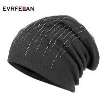 Evrfelan, модная зимняя Лыжная шапочка для женщин, Мягкие осенние вязаные шапки, шапки для женщин, стразы, одноцветная шапка Skullies