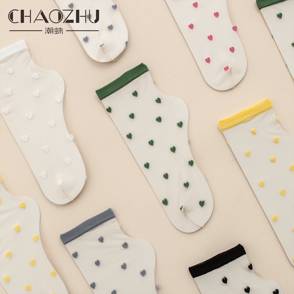 CHAOZHU Trendy Ins Fashion Girls Lovely Hearts Small Icon Women Summer Ultra Thin Silk Crystal Socks 3 Pairs Mixed Colors Sheer