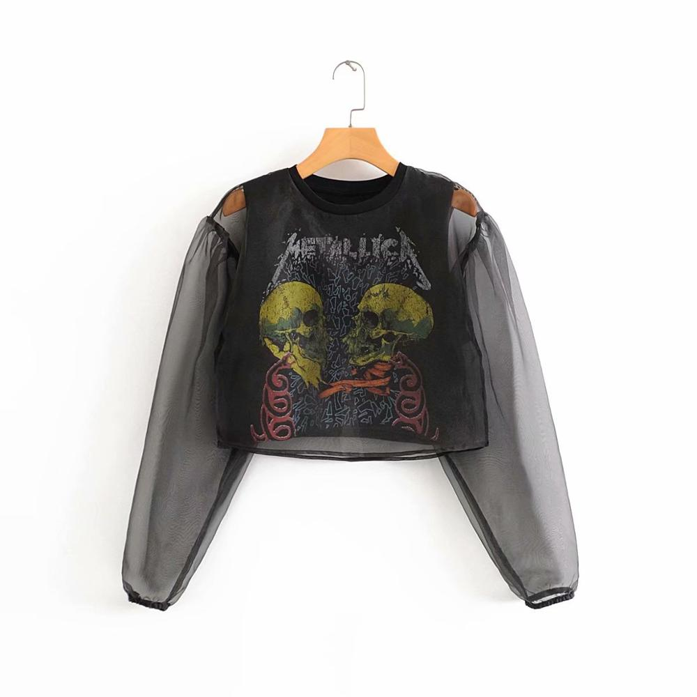 New Women Vintage Puff Sleeve Transparent Organza Chic Smock Shirt Blouse Women Graffiti Print Casual Roupas Chemise Tops LS6214