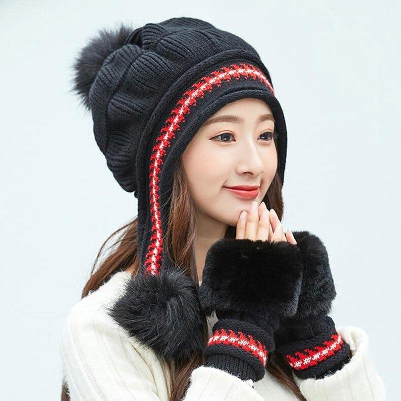 Fashion Chic Womens Knitted Hat Gloves Set Winter Warm Thicken Crochet Beanie Hat + Faux Fur Fingerless Gloves & Mittens