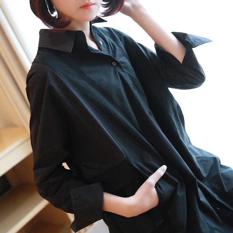 Automne élégant col cranté bouton noir Blouse chemise femmes à manches longues hauts chemises femme bureau dame travail grande taille