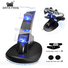 Data Katak LED Dual USB Pengisian Dock Charger Controller Game Controller Stand Pemegang untuk Sony PS4 PlayStation 4/PS4 slim/PS4 Pro(China)