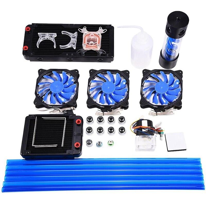 DIY 120mm Heatsink CPU Water Block Pump Reservoir LED Fan Computer Water Cooling