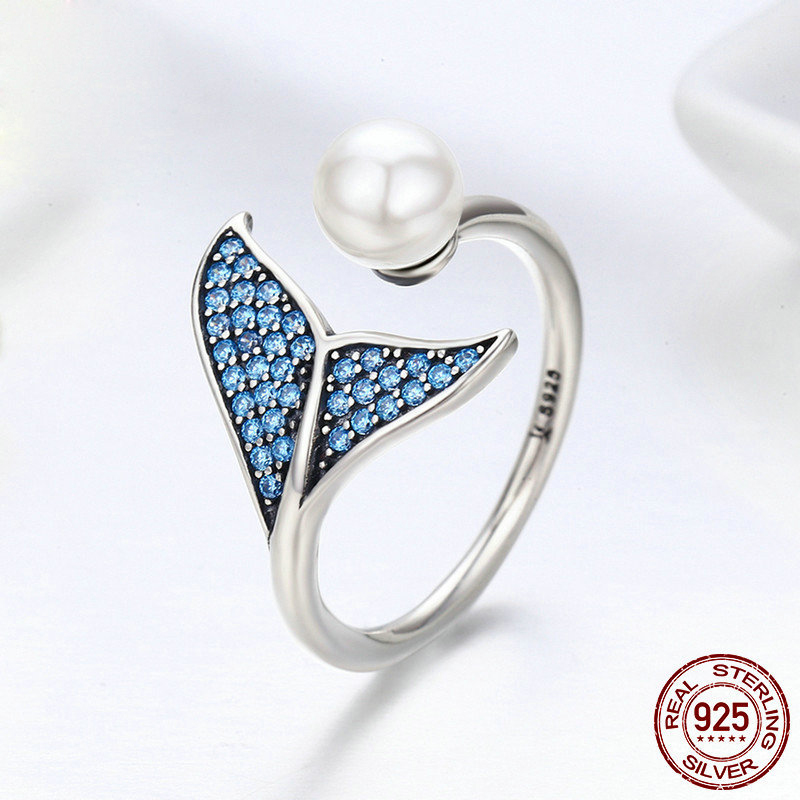 New Adjustable Dolphin Tail Finger Rings for Women Sterling Jewelry Mermaid Ring(China)