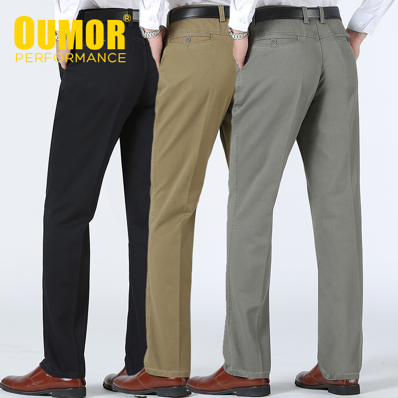 Men 2020 Spring New Business Casual Brand Long Cotton Pants Trousers Men Autumn Fashion Pockets Regular Fit Zip Dress Pants Men