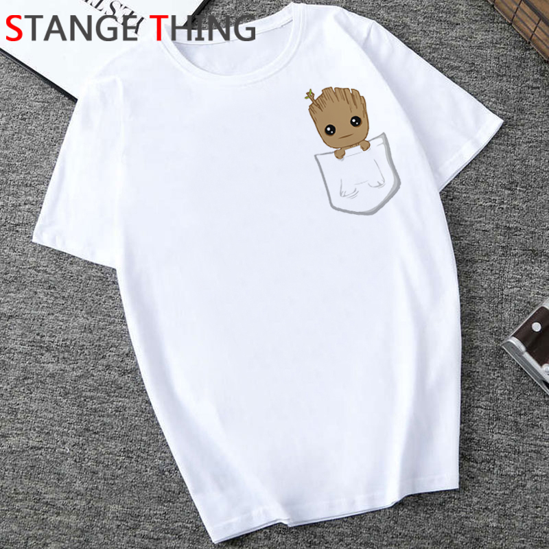 Cute Bady Groot Funny Cartoon T Shirt Men Casual Groot Unisex T-shirt Cool Anime Kawaii Tshirt Hip Hop Streetwear Top Tees Male