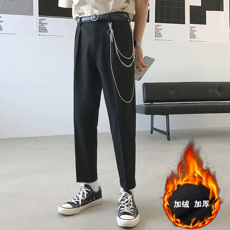 2019 Men's Western-style Trousers Thicken Velvet Fashion Suit Pants Haren Pants Leisure Grey/black Casual Pants Big Size 28-34