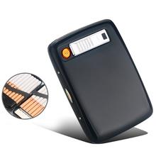(20 papierosów) Retro Metal elektroniczny zapalniczki USB zapalniczki ładowania elektryczny wiatroodporny zapalniczki papierośnica prezent dla mężczyzny tanie tanio Drillin Lakier 0078