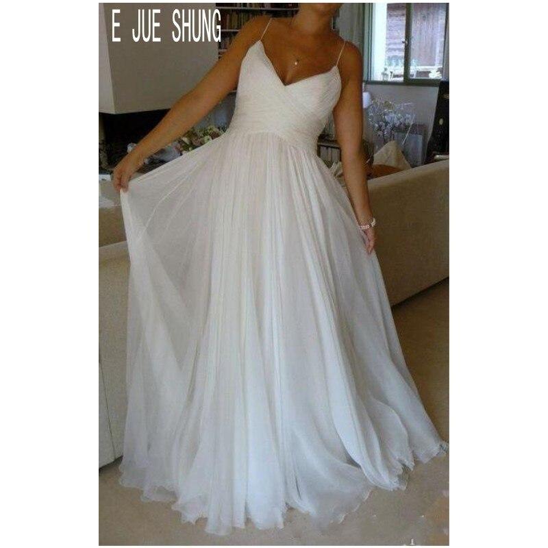 E JUE SHUNG Simple White Chiffon Wedding Dresses Spaghetti Straps Ruched Boho Bridal Gowns Lace Up Back Vestido De Noiva