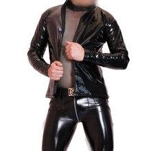 Plus Size PVC Leather Bomber Jacket Mens Jackets And Coats Hip Hop Roupas Street Wear Stage Costume Windbreaker shinning