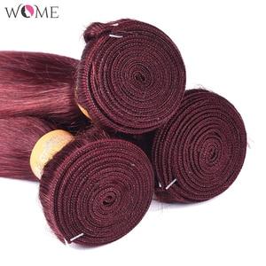 Image 5 - Mèches malaisiennes non remy naturelles, pré colorées, vin rouge bordeaux 99j, 4x4, avec Lace Closure, Extension capillaire lisse