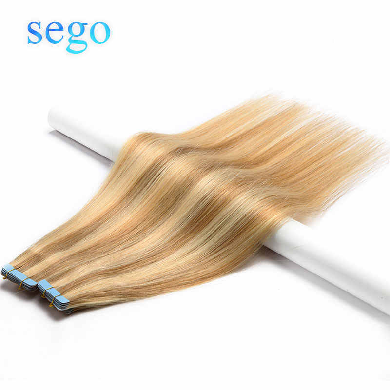 "SEGO 12"" -24"" 2.5g/pc 20pcs Straight Tape In Human Hair Extensions Non-remy Adhesive Invisible PU Seamless Skin Weft Blonde Hair"