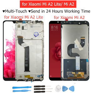 Image 1 - 100% New for Xiaomi Mi A2 Lite/ Mi A2 LCD Display Screen Touch + Frame Assembly LCD Display Touch Screen Repair Spare Parts