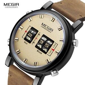 Image 2 - MEGIR dijital saat adam lüks üst marka kuvars saatler erkek deri Relogio Masculino 2019 yeni ordu davul rulo kol saati 2137