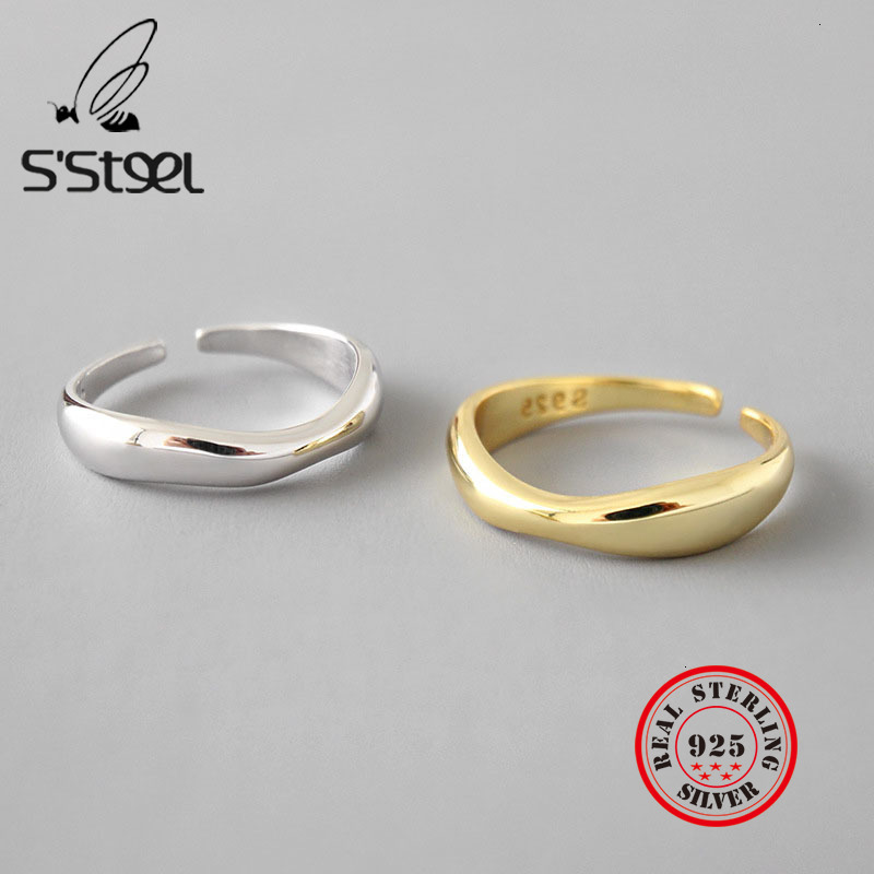 S'STEEL Irregular 925 Sterling Silver Rings For Women Wave Open Ring Anillos Plata 925 Para Mujer Bijoux Femme 2019 Fine Jewelry