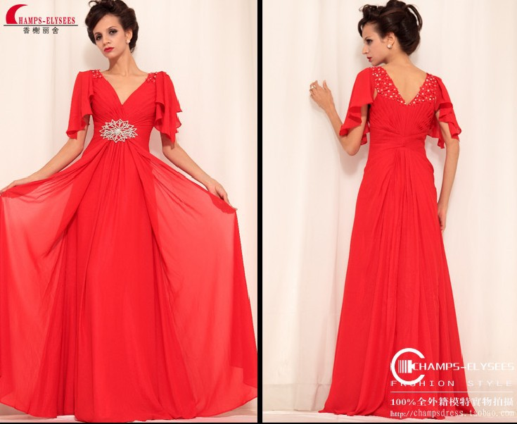 Free Shipping New Fashion Vestidos De Festa Red Long Crystal Cap Sleeve Formal Party Evening Elegant Mother Of The Bride Dresses