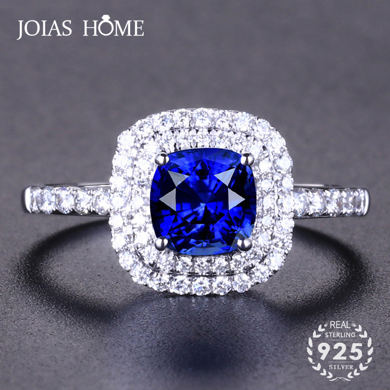 JoiasHome Classic 925 Silver Rings For Charm Women With Round Shape Sapphire Gemstone Open Ring For Women Party Gifts Jewellery