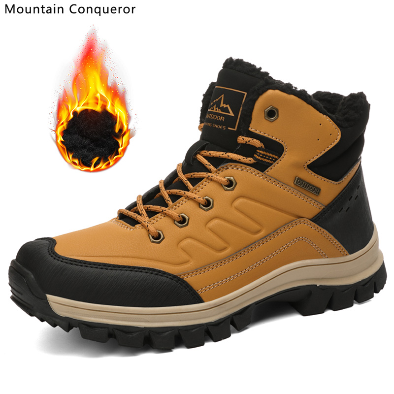 Mountain Conqueror Classic Men Winter Snow Boots Thicken Warm Fur Male Ankle Boots Waterproof Slip-On Hiking Shoes For Male