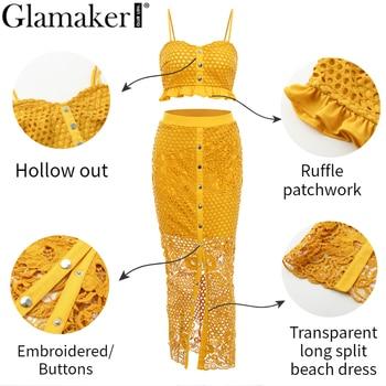 Glamaker Hollow out sexy yellow long dress Women white ruffle 2 piece maxi dress Bodycon split summer party beach dress elegant 8