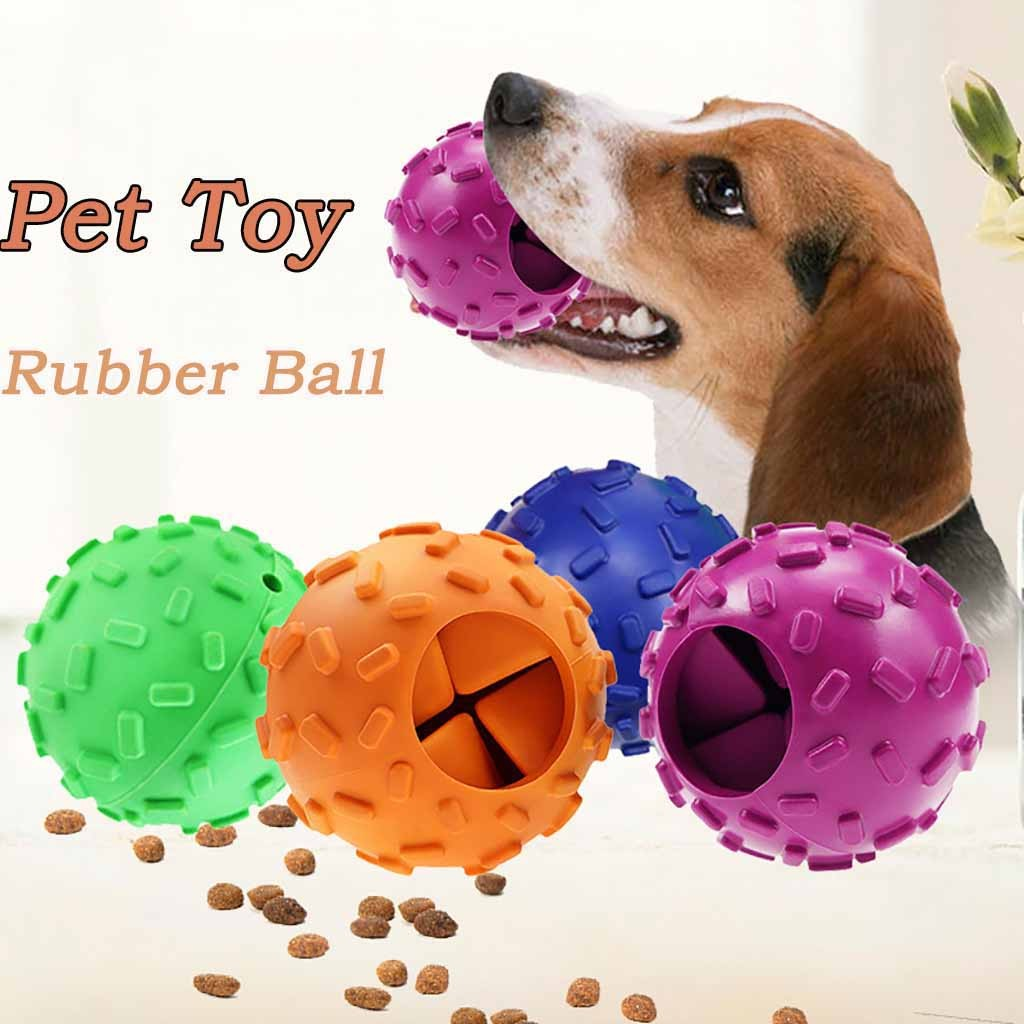 Pet Dog Chew Toy Food Dispenser Ball Bite-resistant Natural Rubber Clean Teeth Animaux Accessoires Chien Pet Dropshipping image