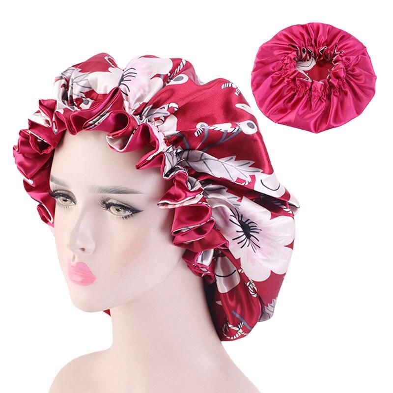 New Large Satin Linned Bonnet Sleep Cap Double-sided Reversible Satin Bonnet Hat Silky Night Sleep Cover Cap Ladies Hair Styling