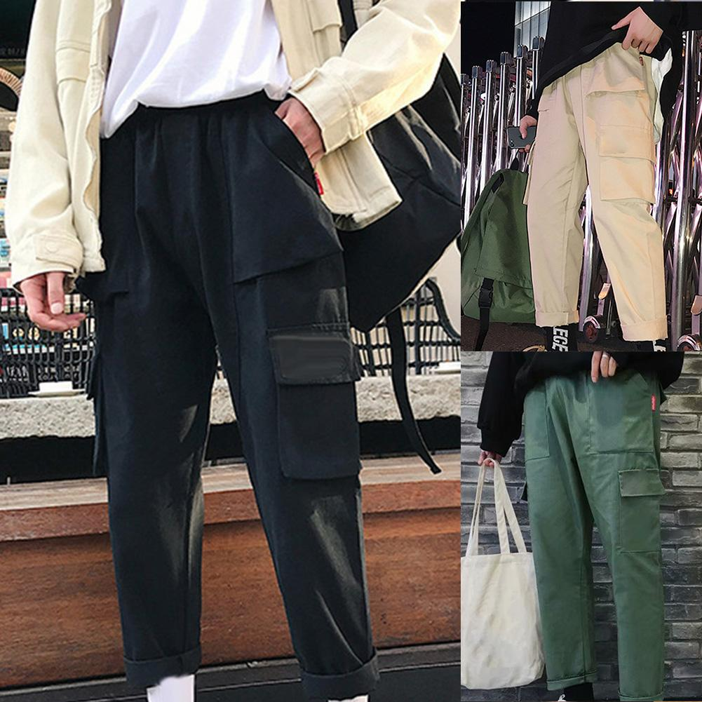 Vintage Men Solid Color Multi Pockets Long Sports Trousers Straight Cargo Pants Fashion Pant