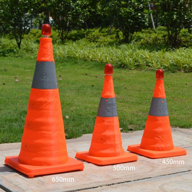 4cm5/50cm/65cm Reflective Traffic Cone NEW Folding Collapsible Orange Road Safety Cone Traffic Pop Up Parking Multi Purpose 2